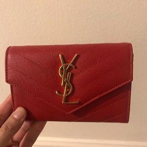 Red saint Laurent envelope wallet/ dustbag